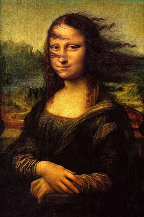 Blown Away Mona Lisa -- I wish I could find the artist, would love a print of this. *sigh*