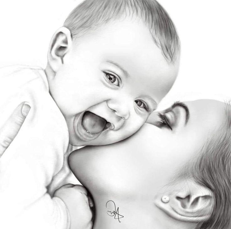 Картинки мать и ребенок нарисованные