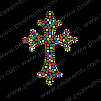 Bling Neon Rhinestuds Transfers Cross Motif