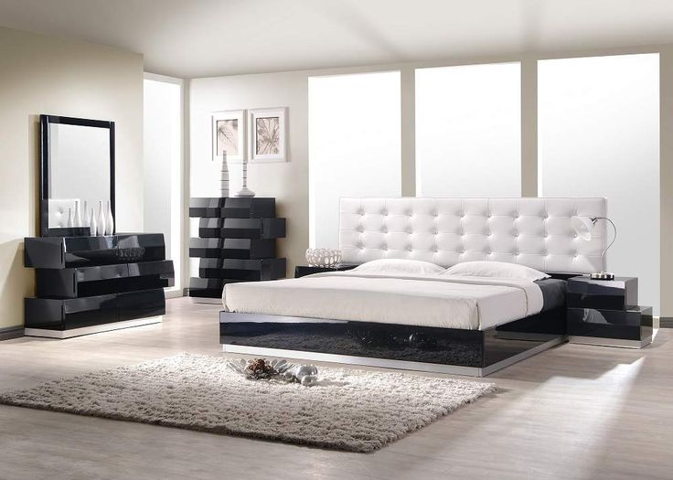 Contemporary Style Bedroom Set With White Leatherette Headboard The Bedroom Offers A Fresh Aim And