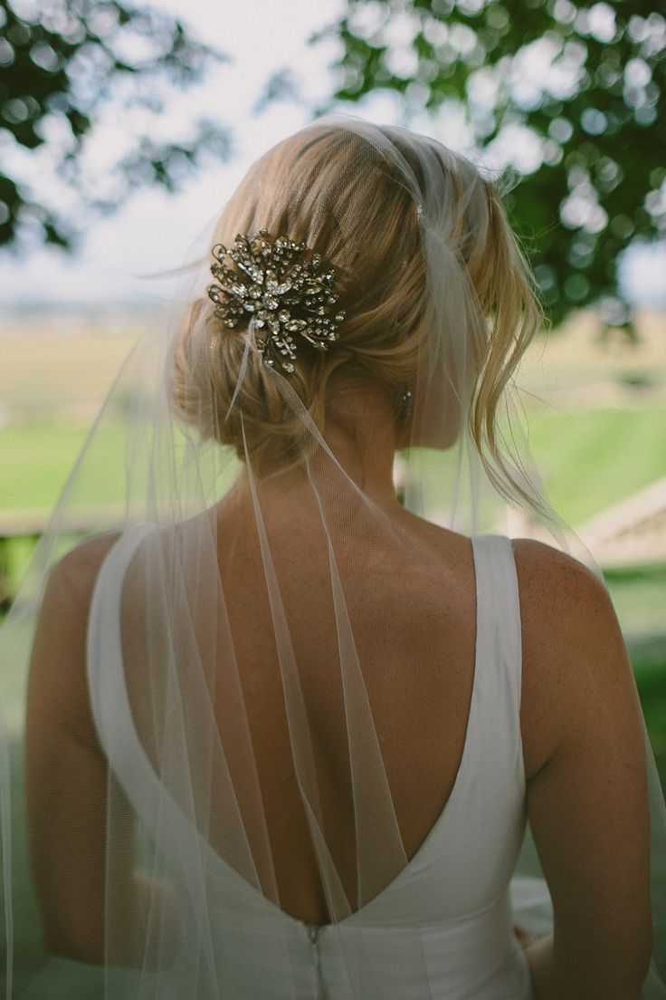 Cluster Jeweled Hairpiece | + Simple Veil | On SMP: http://www.stylemepretty.com/2013/12/02/bitterroot-valley-wedding-from-paige-jones-photography | from Paige Jones Photography