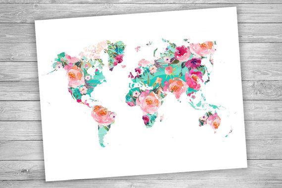 Carte du monde   Mappemonde aquarelle florale   Impression de géographie   Décoration art de voyage   Sticker imprimable - téléchargement immédiat