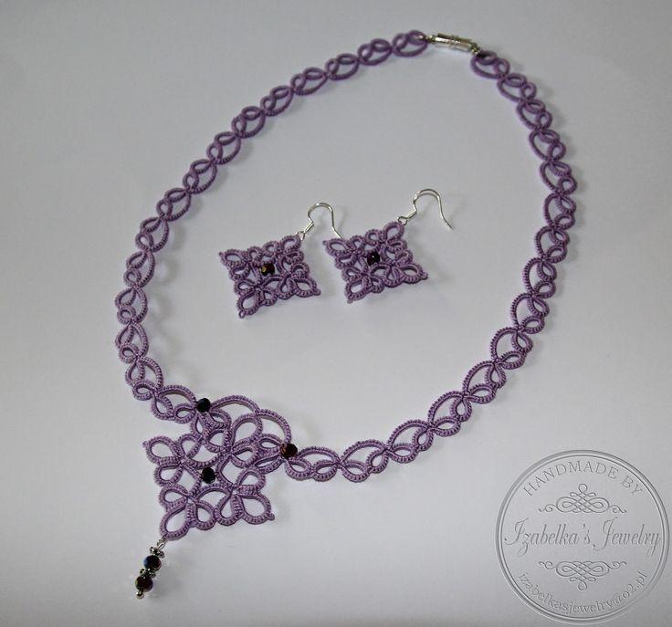 Tatted set with beads by Izabelka's Jewelry/ Frywolitka - naszyjnik i kolczyki z koralikami