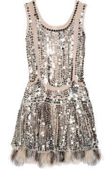 Anna Sui silk tulle sequin dress