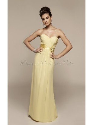 Simple Yellow A-line Floor-length Chiffon Sweetheart Dress With Ruched