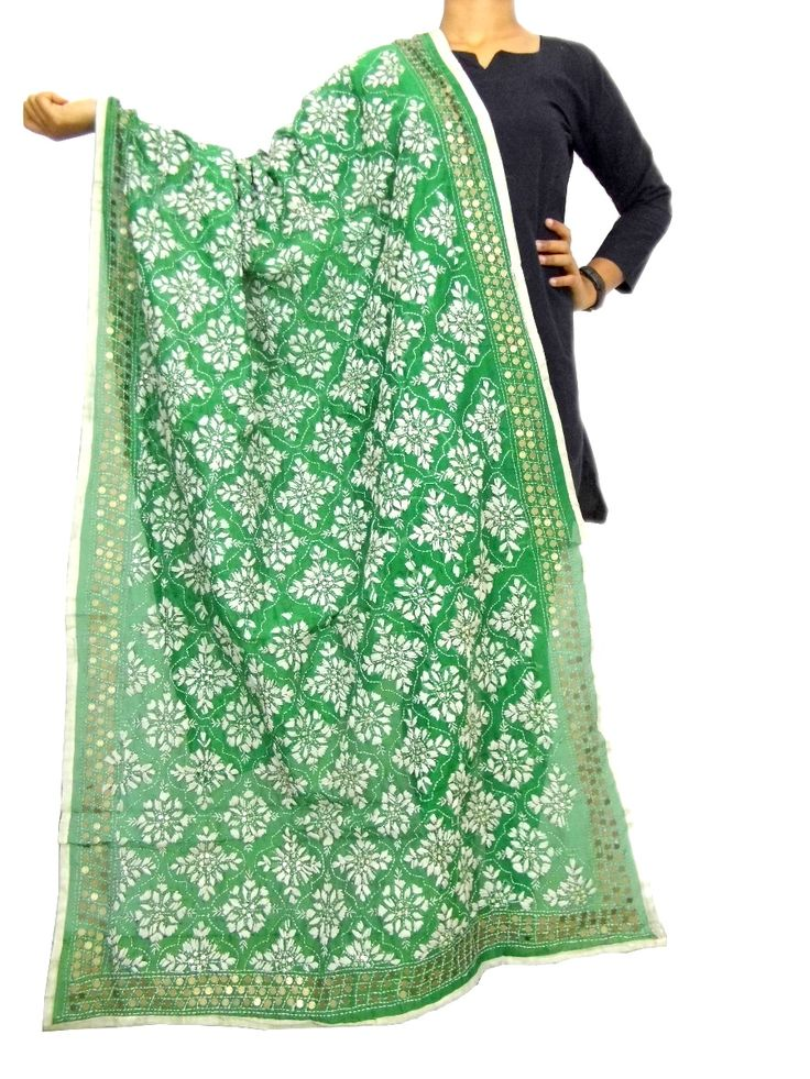 Phulkari Dupatta on Chanderi Fabric -Green&White