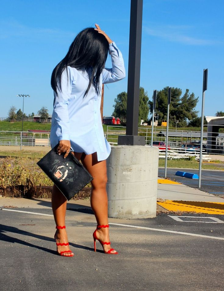 Wearing - Button Down Shirt Dress, Paige Denim Shorts, Prada Scalloped Suede Red Sandals, Givenchy Clutch