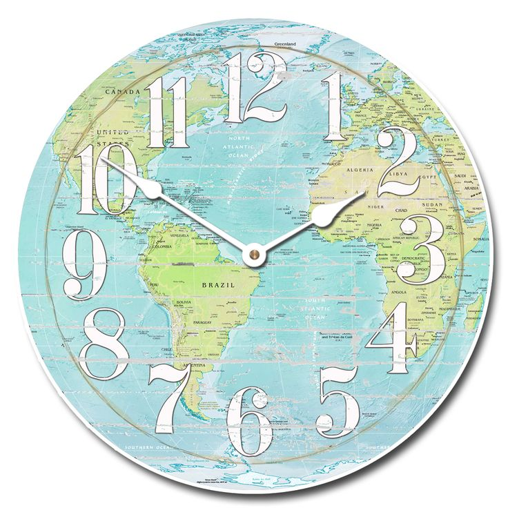 163 best its about time images on pinterest big wall clocks this world map clock has blacks browns and yellows with white accents gumiabroncs Image collections
