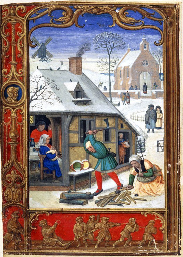 Medieval winter scene: Tobogganing in 'The Golf Book', British Library MS Addition 24098.