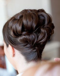 Totally Gorgeous! Large Pinned Curl Updo, Long Straight Hair.
