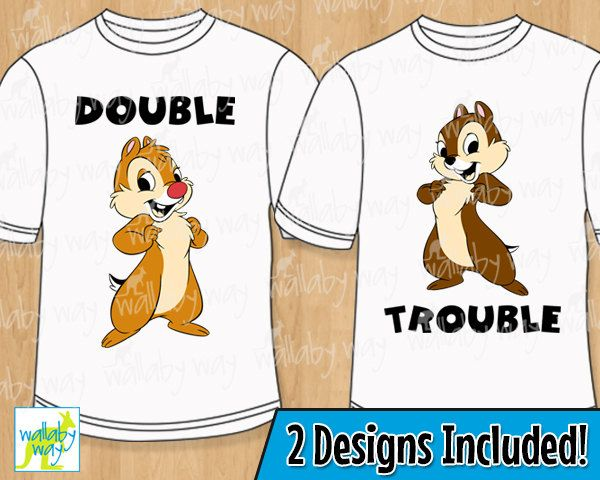 Chip & Dale Double Trouble Printable Iron On Transfer or Use as Clip Art - 2 Matching Designs, DIY Disney Shirt, Chipmunk, Matching T Shirt by TheWallabyWay on Etsy