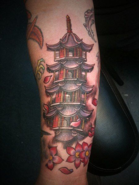 japanese pagoda tattoo designs pagoda tattoo by a ok picture inked pinterest japanese. Black Bedroom Furniture Sets. Home Design Ideas