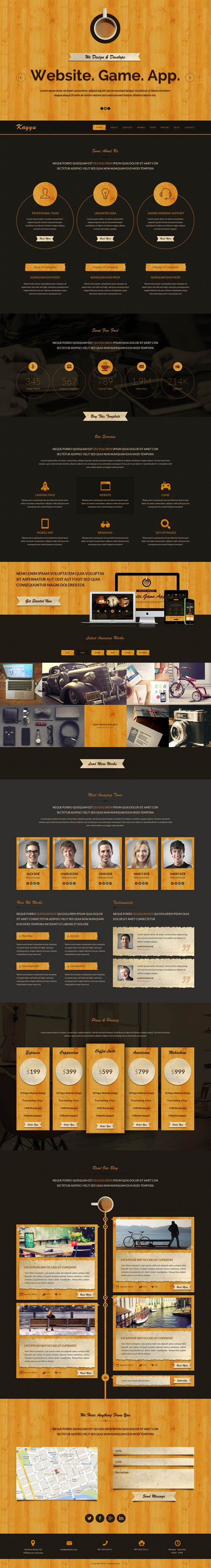 Kayyu One Page PSD Template #html5 #websitedesign #webdesign #html5templates