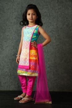Printed kurta churidar embellished with lace from #Benzer #Benzerworld #Kidswear #Kurta #Churidar