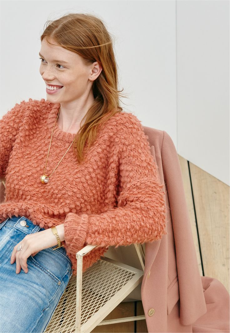 madewell popstitch pullover sweater worn with the perfect vintage jean.