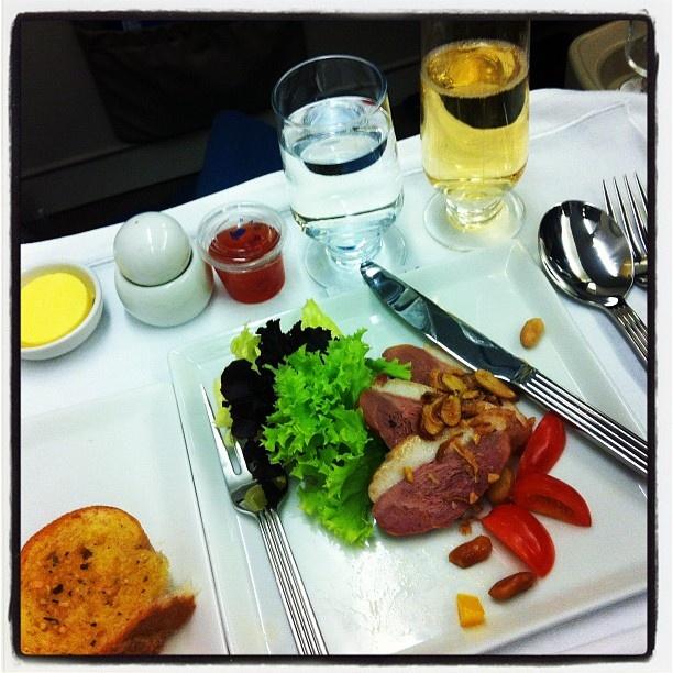 Manila - SG appetiser on board SG airline. Duck salad - @transformbyjoe- #webstagram