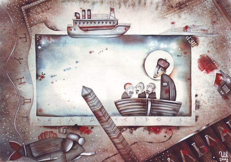 Charon and the group of old Bolsheviks by Eugene Ivanov. #eugeneivanov #gulag #genocide #solzhenitsyn #camps #russian #archipelago #prison #soviet #russia #war #freedom #stalin #putin #lenin #human_rights #gulag_archipelago #@eugene_1_ivanov