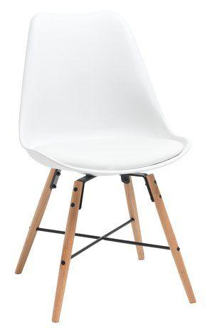 Stol KLARUP hvit imitert skinn/eik | JYSK
