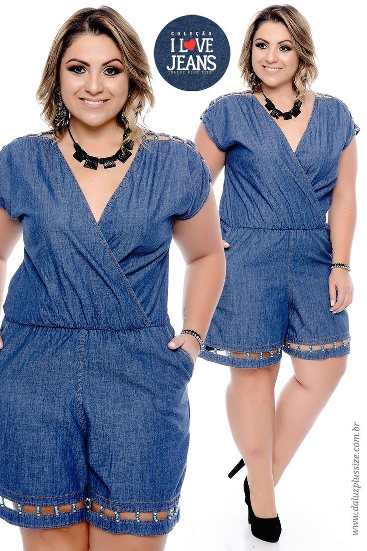 Macaquinho Jeans Plus Size Vitoriana - Coleção I Love Jeans Plus Size - daluzplussize.com.br