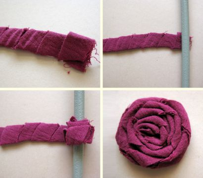 how to make fabric rosettes which can be used on brooches, hair clips, necklaces, home decor projects and