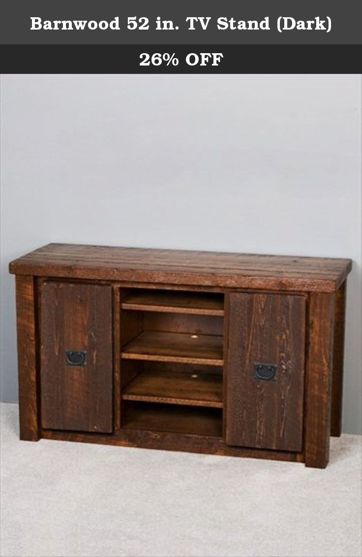 Barnwood 52 in. TV Stand (Dark). Two fold open doors on both sides. Two adjustable shelves behind each door. Three adjustable shelves for open shelf storage in center. Storage for receivers and DVD players. Black wrought iron door pulls. Self closing doors. Concealed hinges. Kiln dried to 8-10% moisture content. Limited lifetime warranty. Made from rough sawn pine lumber. Made in USA. 52 in. W x 19 in. D x 30 in. H (122 lbs.). The barnwood 52 in. television stand would fit excellent in…