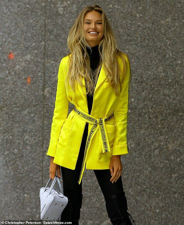 84408d5c15d3 Brighten up your day in a yellow blazer like Romee  DailyMail  romeestrijd   off-white  yellowblazer Click