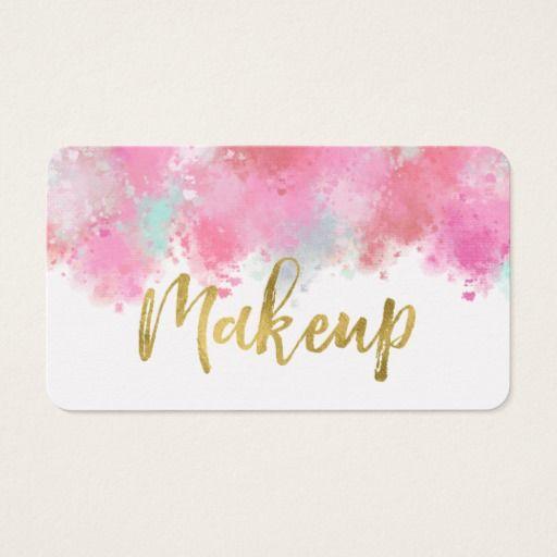 Blush Pink Crushed Makeup Business Card