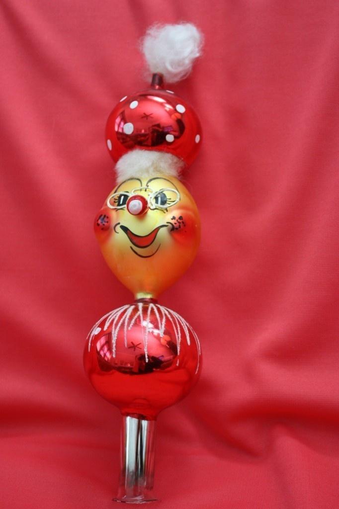 Vintage Italy Blown Glass Santa Christmas Tree Topper   eBay