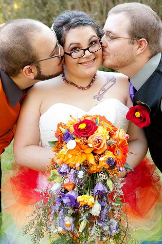 Christine & Derek's misadventurous rainbow hodgepodge of freaks & geeks wedding   Offbeat Bride - I LOVE the way they open their vows. Dee and I are totally rolling initiative to see who goes first. Also, yay for poly couples!