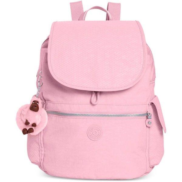 Kipling Ravier Backpack (2,325 MXN) ❤ liked on Polyvore featuring bags, backpacks, dots spring pink combo, travel rucksack, pink polka dot backpack, kipling rucksack, nylon travel bag and pocket backpack
