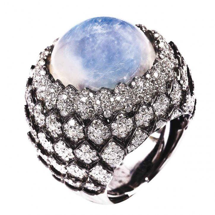 18K cocktail ring in white gold with white diamonds and moonstone centre by MVee http://www.aspire.com.hk/