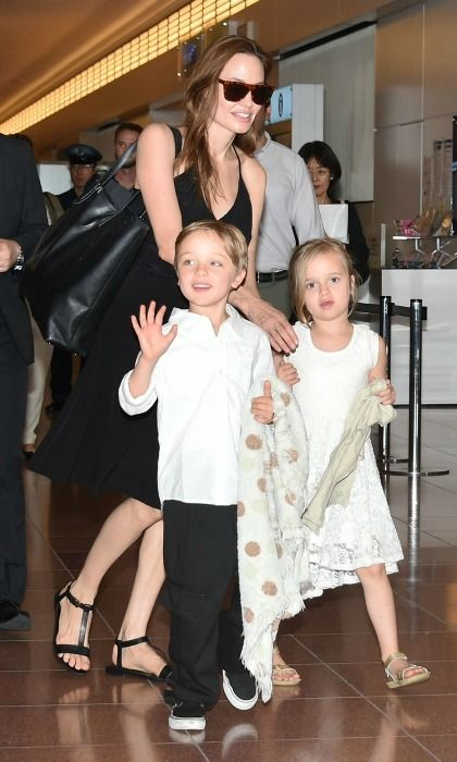 Angelina Jolie and Brad Pitt  Knox and Vivienne   Angelina and Brad welcomed their twins on July 12, 2008, in Nice, France. While Brad and Angie keep their brood out of the spotlight the majority of the time, the twins and their siblings were recently seen supporting their mother at the premiere of Kung Fu Panda 3.