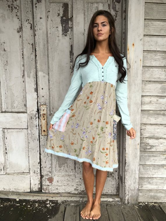 RESERVED Romantic/Tattered/Rustic/Boho/Gypsy Dress upper part of dress is made with cotton lower part is made with rayon and has two added pockets and tie along back Size-small medium chest-42 has stretch hip-50 length-38