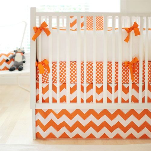 Tangerine Chevron Baby Bedding from PoshTots that's what I want for my baby's room