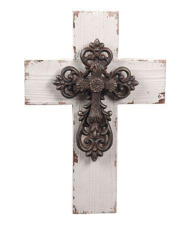 Look at this #zulilyfind! Distressed Wall Cross Decoration #zulilyfinds