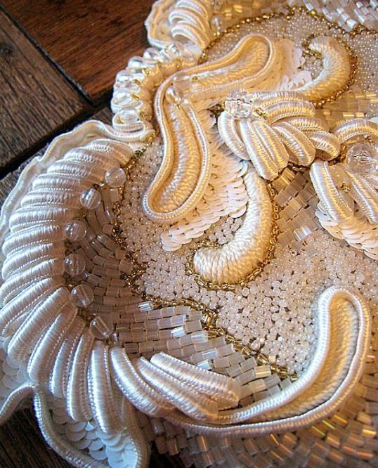Gorgeous white silk thread and bead Embroidery.