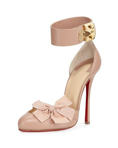 X2SPS Christian Louboutin Fetish Red Sole d\u0027Orsay Pump, Nude/Golden