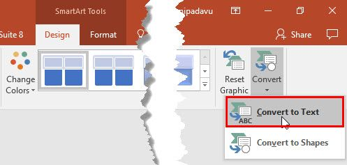 Convert #SmartArt Graphic to #Text in #PowerPoint 2016