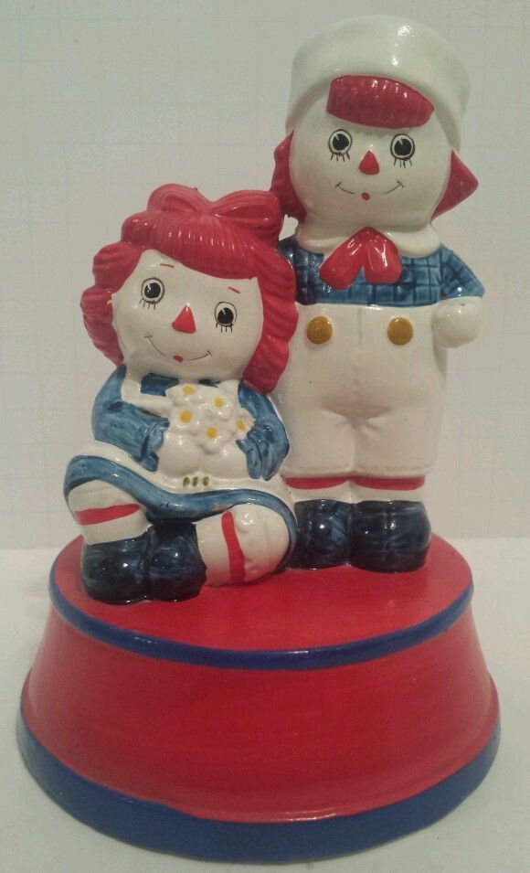 Vintage Fitz and Floyd Raggedy Ann and Andy Musical Painted Ceramic Music Box