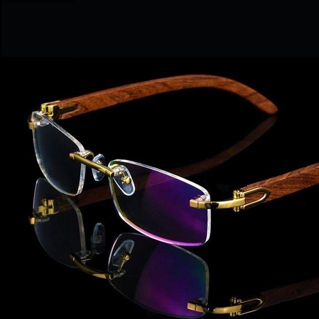 Vazrobe Brand Gold Wood Glasses Frame Men Metal Rimless