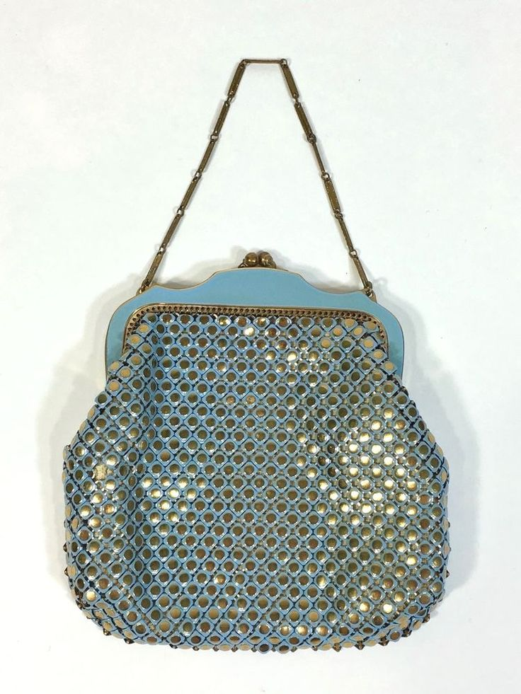 Vintage Antique 1920's Whiting & Davis RARE blue & gold chainmail mesh purse bag #WhitingandDavis #Smallhandbag #EveningSpecial