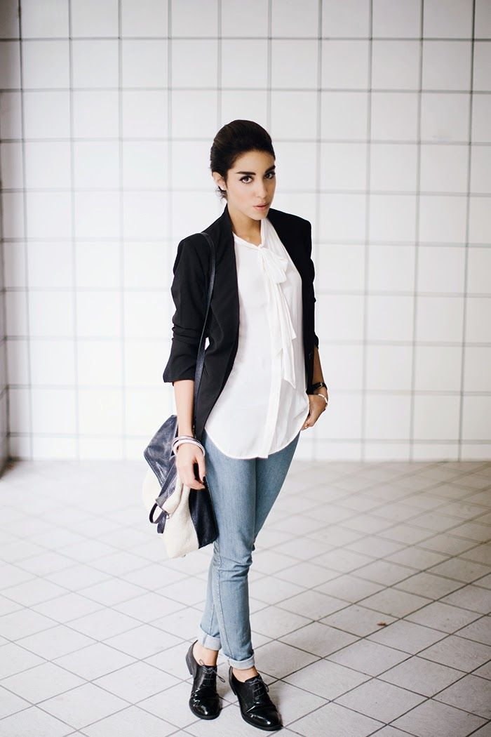 Shop this look for $111:  http://lookastic.com/women/looks/blazer-and-longsleeve-shirt-and-crossbody-bag-and-skinny-jeans-and-oxford-shoes/3601  — Black Blazer  — White Silk Longsleeve Shirt  — Black and White Leather Crossbody Bag  — Blue Skinny Jeans  — Black Leather Oxford Shoes