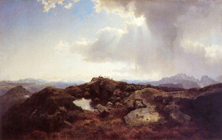 Hans Gude (1825-1903): Hoyfjellslandskap Med Opptrekkende Uvaer, 1848, Aust-Agder-Muséet, Arendal