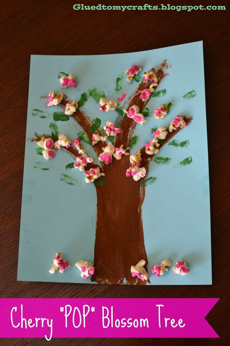Easy spring crafts for seniors - Cherry Pop Blossoms Artwork Kid Craft