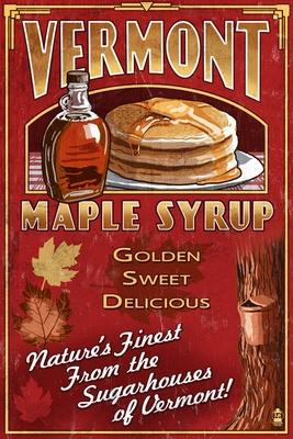 Vermont - Maple Syrup Vintage Sign - Lantern Press Poster