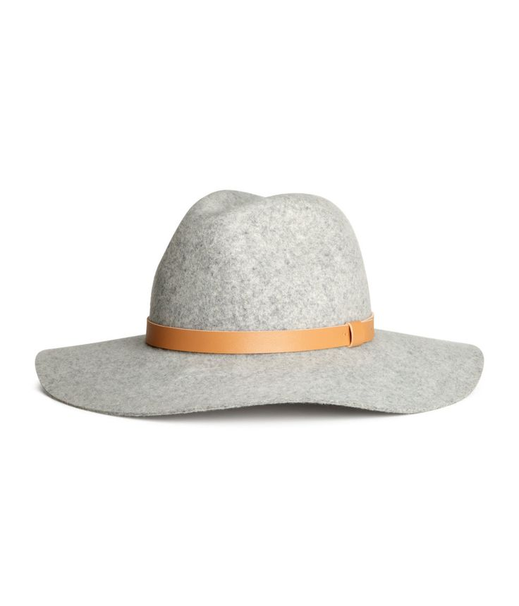 Gray brimmed hat with premium-quality felted wool & brown accent band. | H&M Accessories
