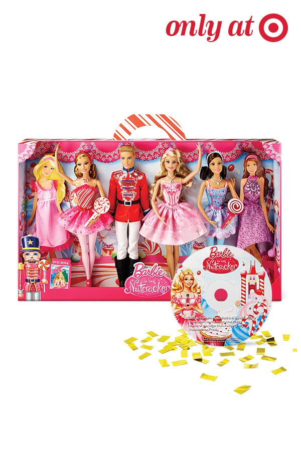 The Barbie Nutcracker gift set is the perfect Christmas gift for any little girl on your list. Packed with fun, this gift set includes four Nutcracker outfitted dolls and a CD. So sweet!