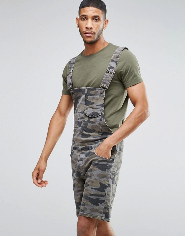 Get this Asos's denim shorts now! Click for more details. Worldwide shipping. ASOS Denim Short Dungarees In Camo - Green: Dungarees by ASOS, Camouflage twill, Adjustable buckle straps, Functional pockets, Straight legs, Regular fit - true to size, Machine wash, 99% Cotton, 1% Elastane, Our model wears a W 32 and is 185.5cm/6'1 tall.  (pantalón corto vaquero, damaged, ripped, mom, distress, flex jean, vaquero, jean, jeans, tejano, tejanos, shorts vaqueros, pantalones cortos vaqueros…