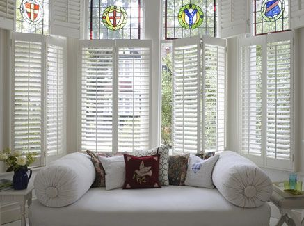 I so want plantation shutters in my breakfast nook.  This is going on my to do list for spring!