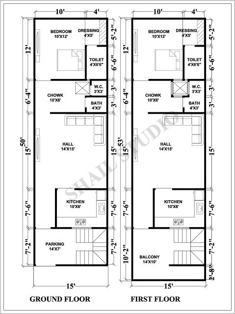 15X50 House plan with 3d elevation by shail studio | bangles